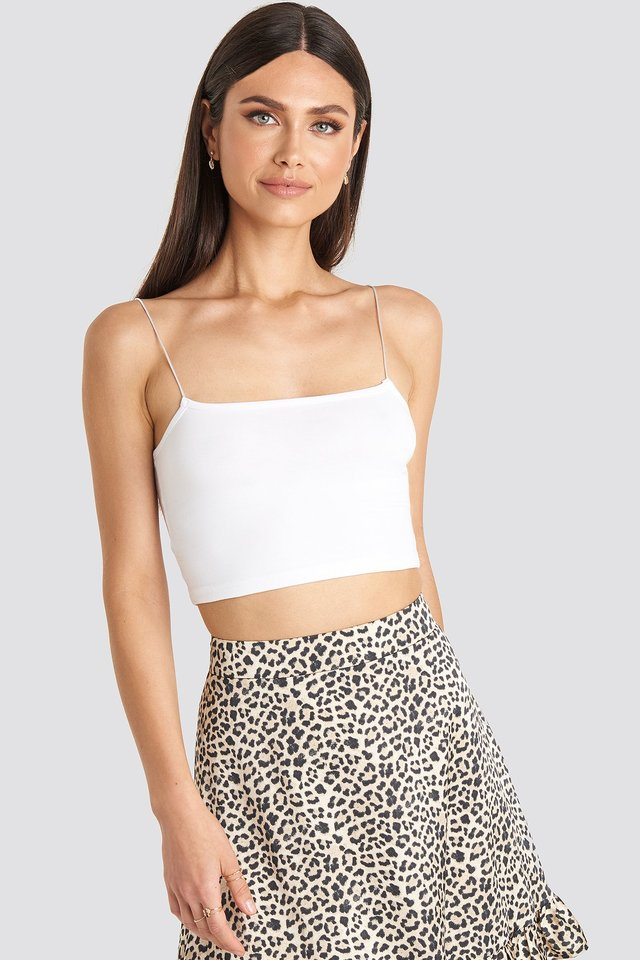 Cropped Strap Top White