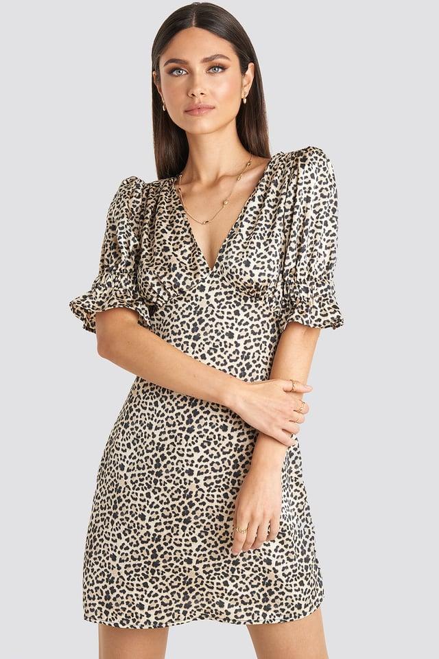 Puff Mini Dress Leopard