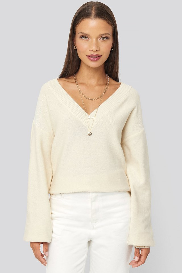 V-Neck Oversized Sweater Off White