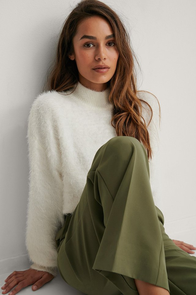 Dropped Shoulder Fuzzy Knitted Sweater Offwhite