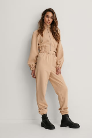 Beige Drawstring Trousers