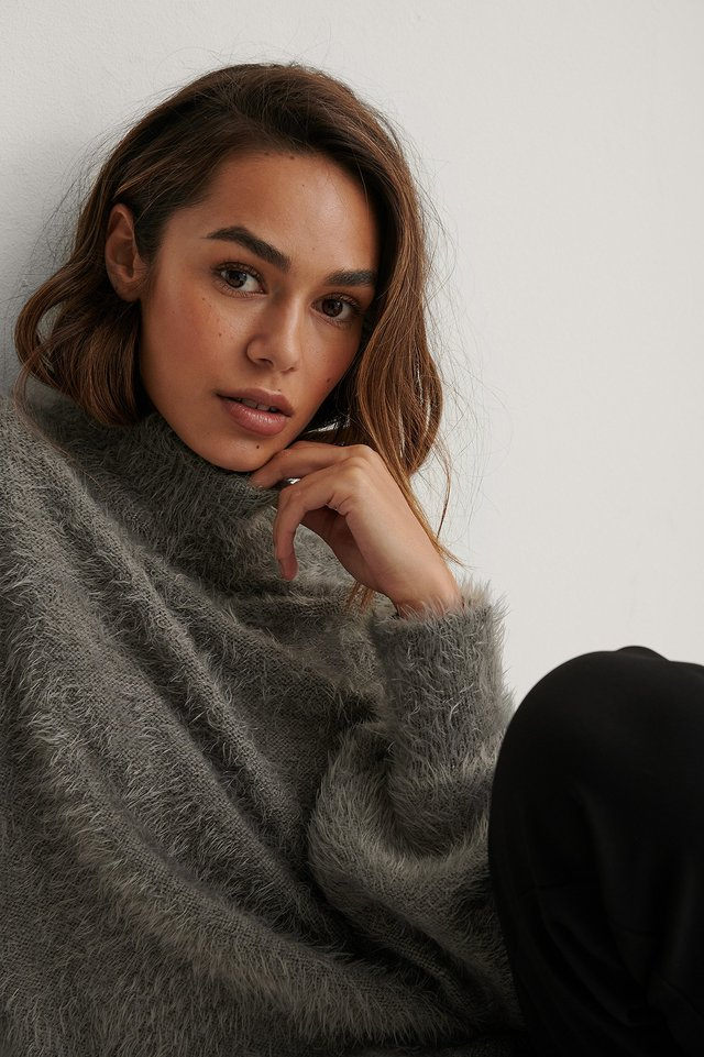 Dropped Shoulder Fuzzy Knitted Sweater Dark Grey