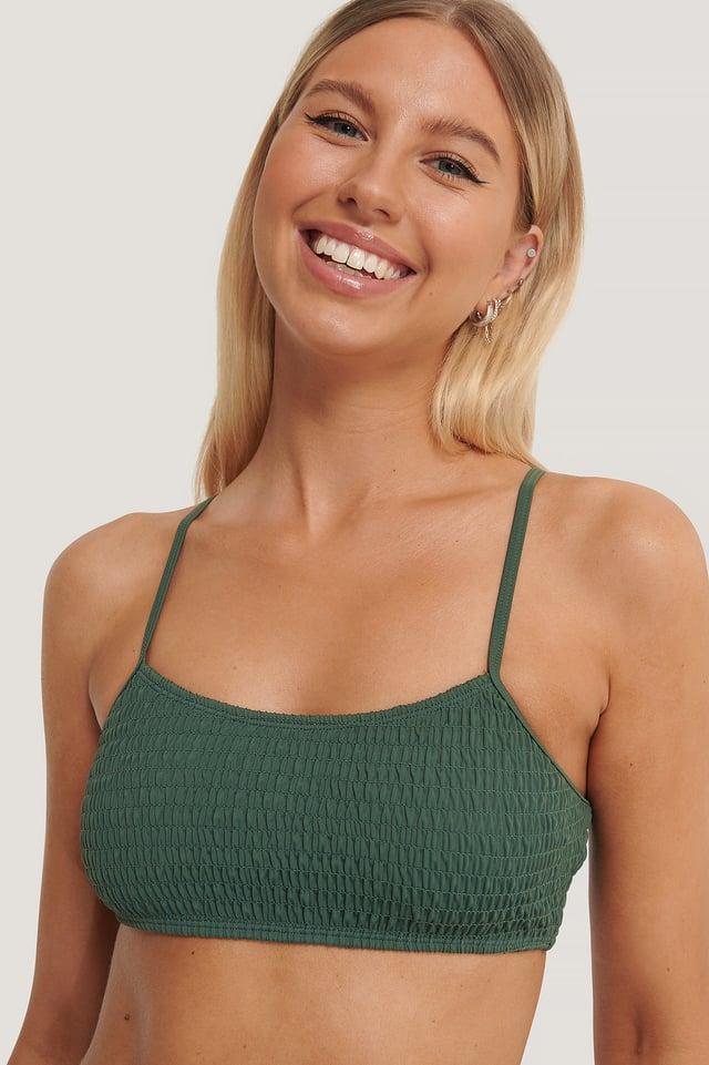 Dark Green Bikiniyläosa Nauhoilla