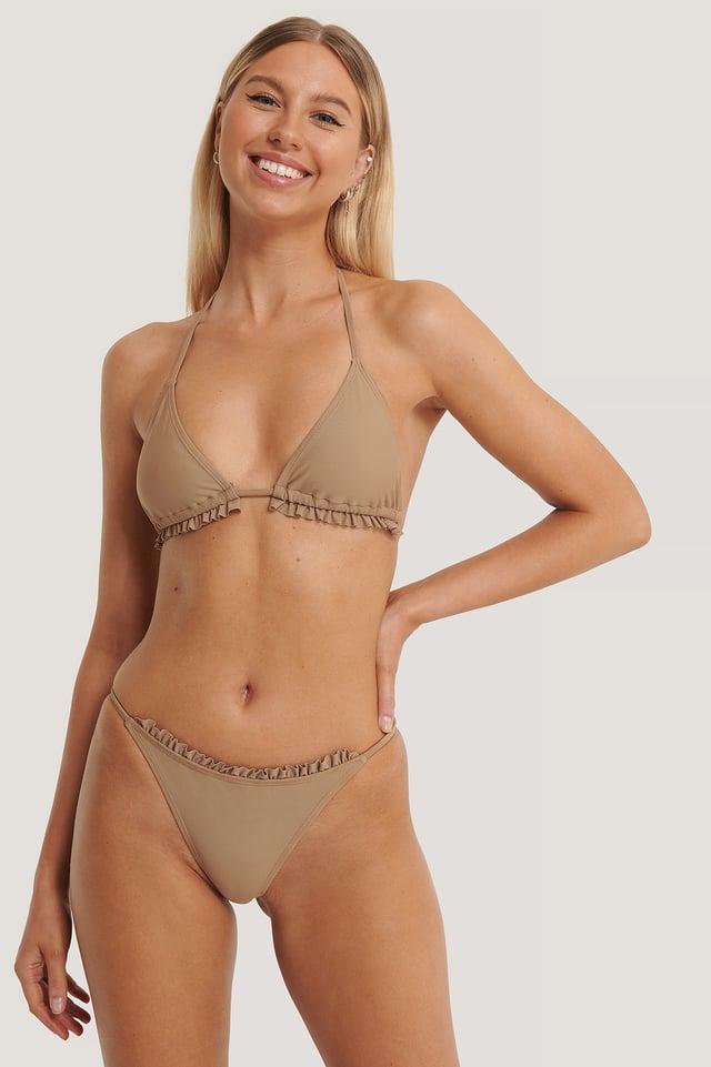 Thin Strap Frill Bikini Briefs Taupe