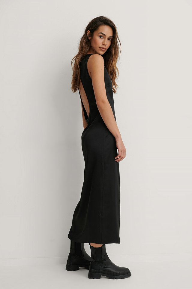 Black Open Back Midi Dress