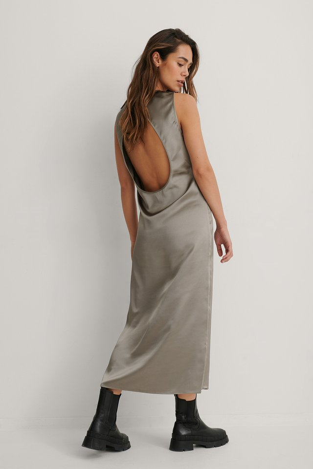 Dark Grey Open Back Midi Dress
