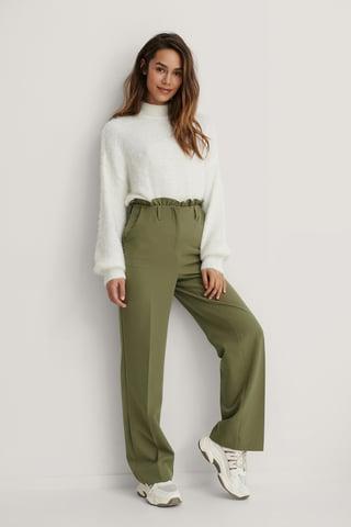 Khaki Petit Dressbukser Med Paperbagmidje