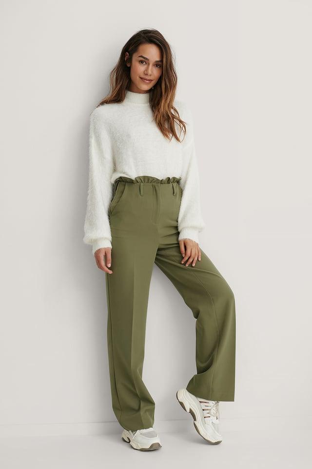 Petit Dressbukser Med Paperbagmidje Khaki