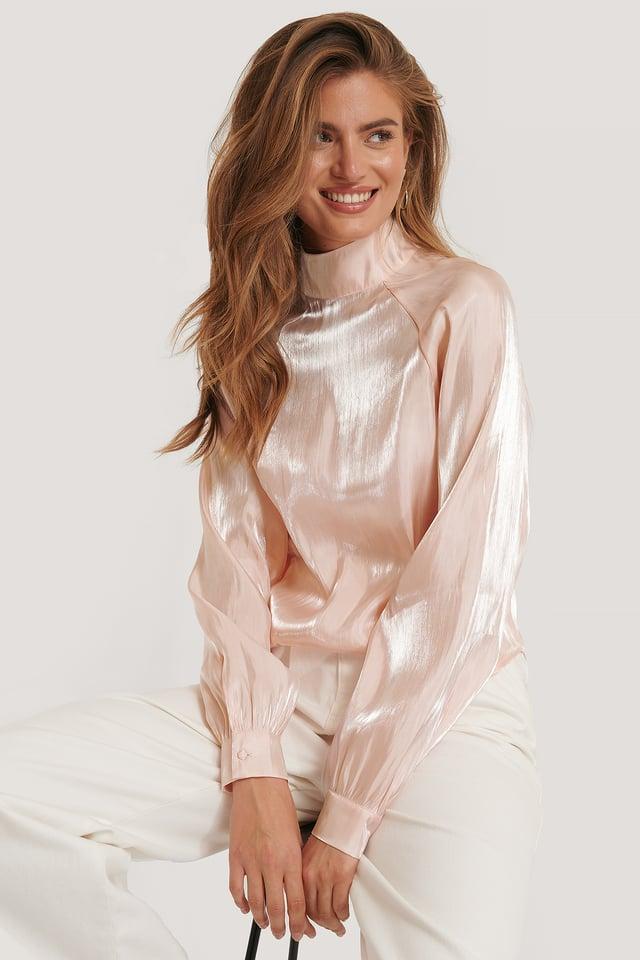 Blusa Fina De Cuello Alto Pink