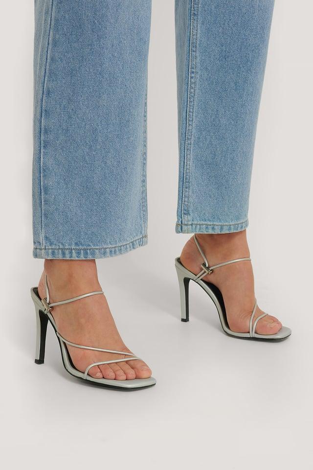 Silver Strap High Heels