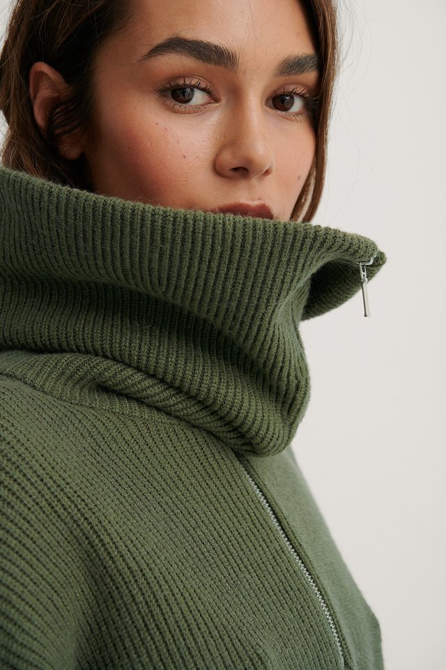 Wide Neck Zip Knitted Sweater Khaki