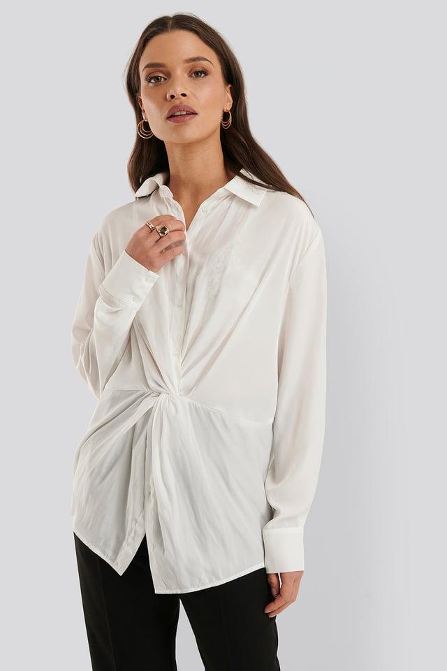 Bluse Med Knytting Foran White