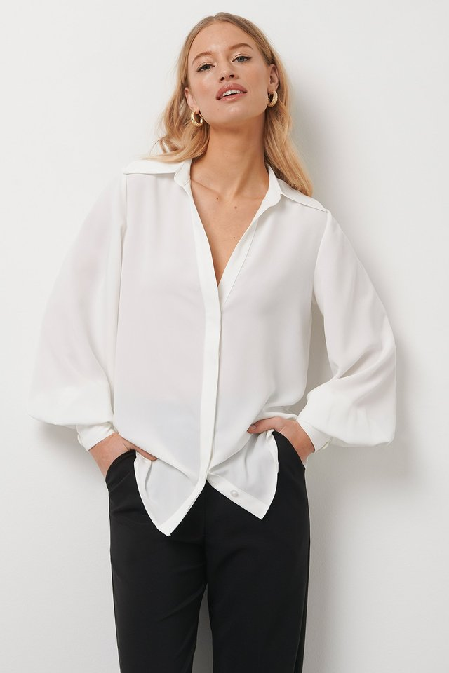 Balloon Sleeve Shirt White