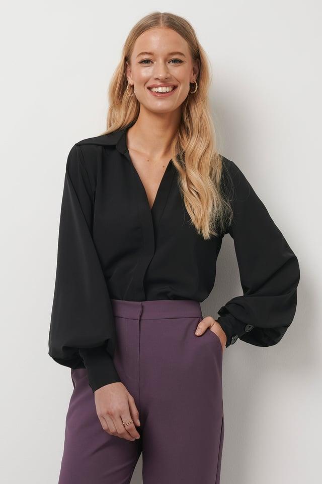 Balloon Sleeve Shirt Black