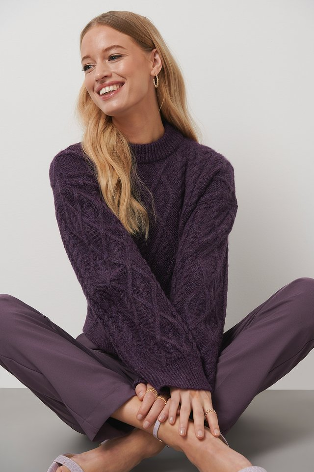 Cropped Cable Knitted Sweater Plum