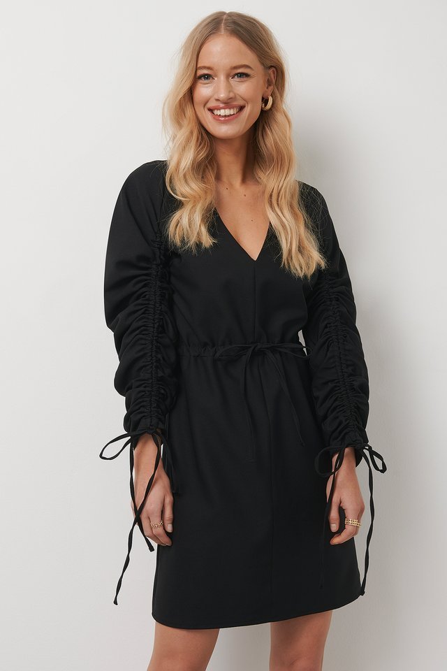 Drawstring Detail Mini Dress Black