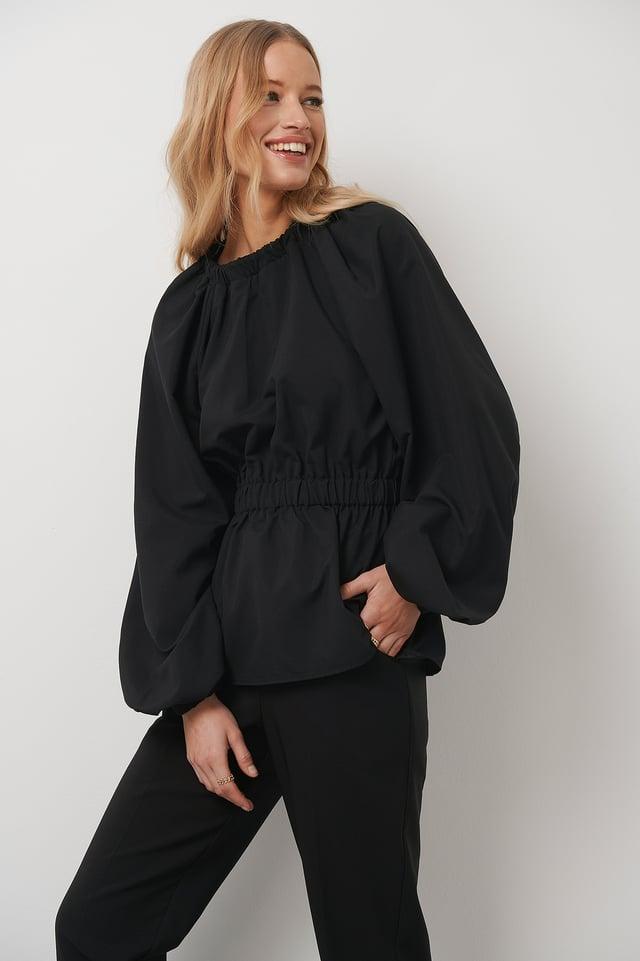 Elastic Waist Volume Sleeve Blouse Black