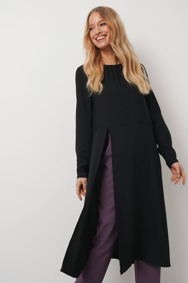 High Slit Midi Dress Black