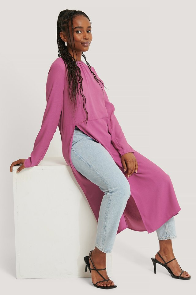 High Slit Midi Dress Cerise