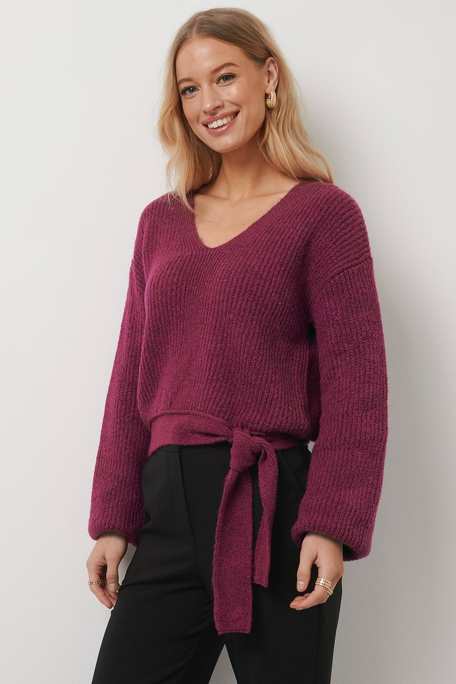 Knot Detail Knitted Sweater Cerise