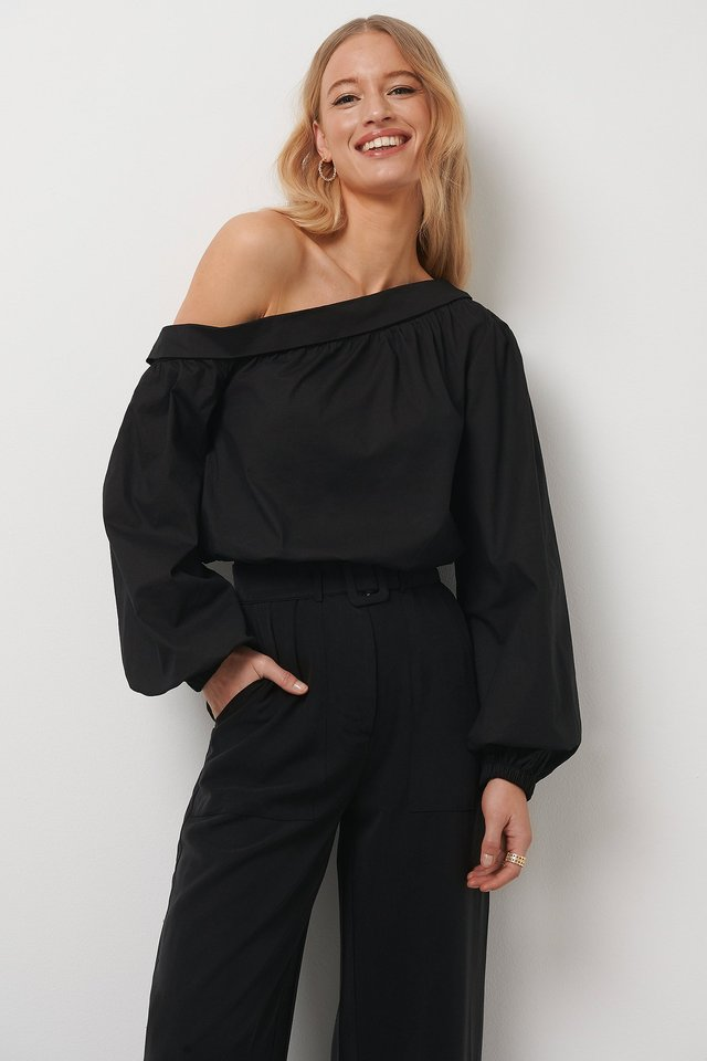 One Shoulder Balloon Sleeve Blouse Black
