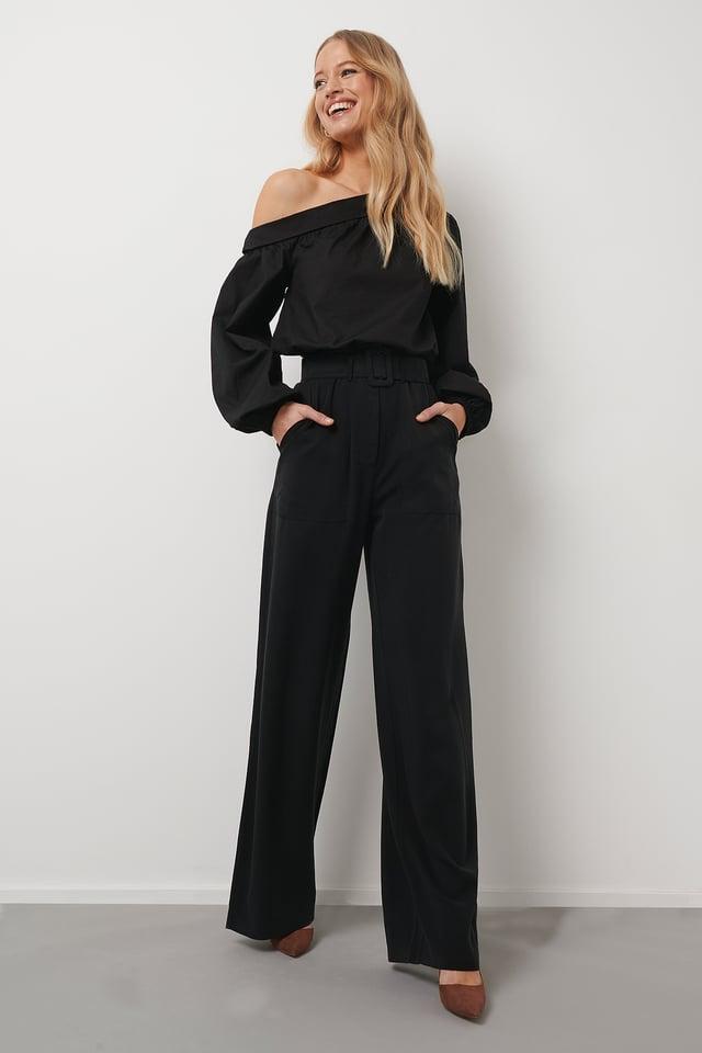 Wide Leg Suit Pants Black