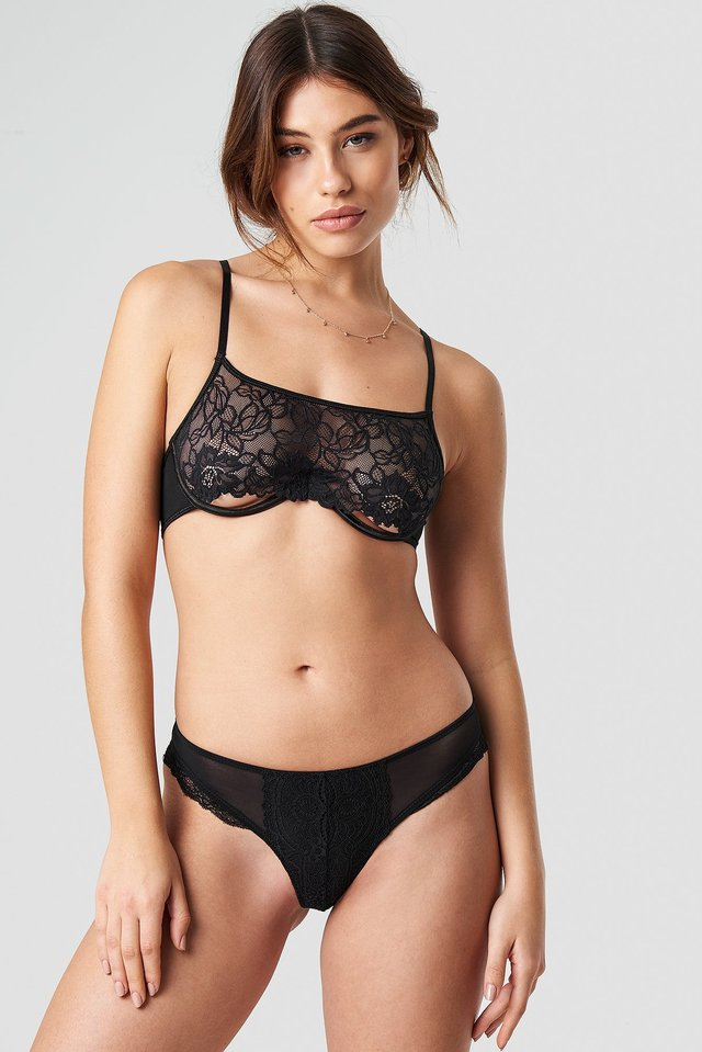 Lace Detailed Brief Black