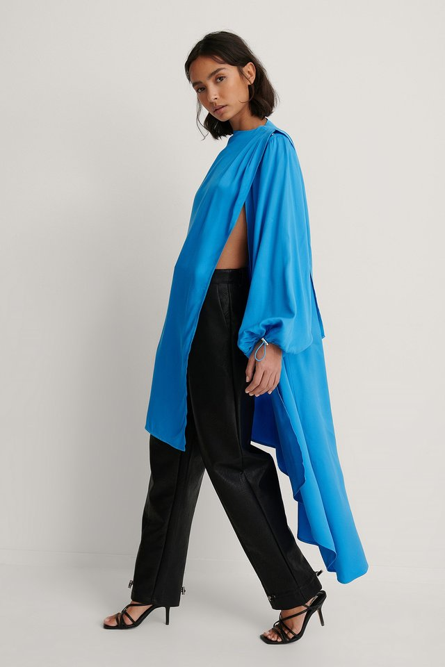Turquoise Balloon Sleeve Asymmetric Volume Caftan