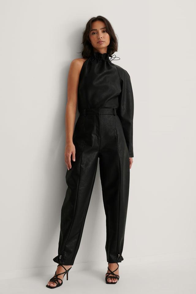 Black Cocoon PU Pants