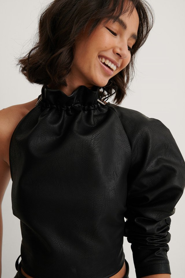Black One Sleeve PU Top