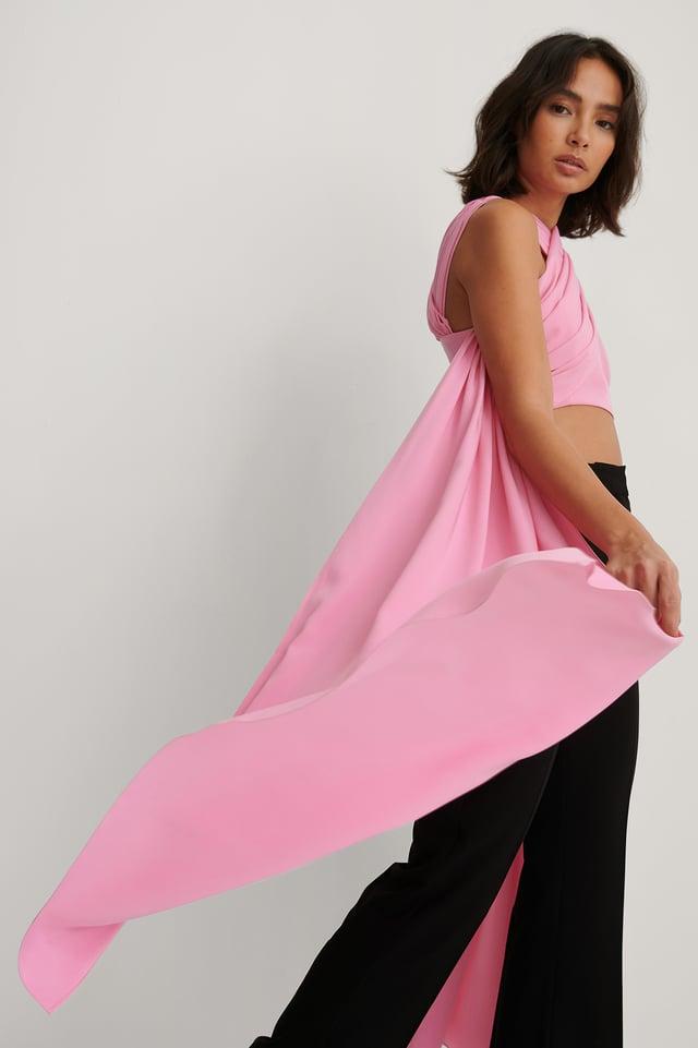 Pink Toppi Etuosan Limittäisellä Muotoilulla