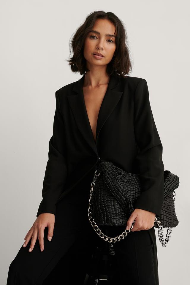 Black Structured PU Bag