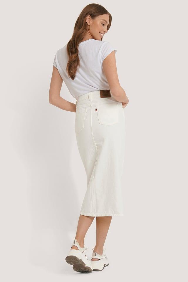 White Button Front Midi Skirt