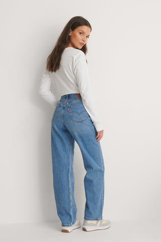 Light Indigo - Flat Finish Loose Straight Jeans Whatever