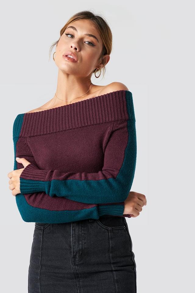 Color Block Off Shoulder Sweater Burgundy/Petrol