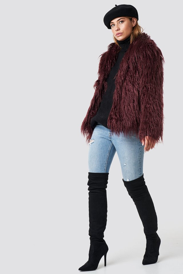 Fluffy Faux Fur Jacket Burgundy