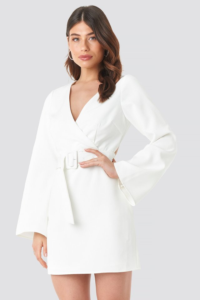 Open Back Mini Dress White