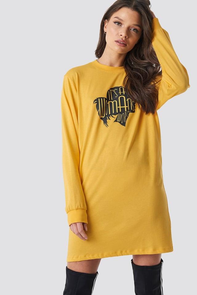 Oversized LS T-Shirt Dress Yellow