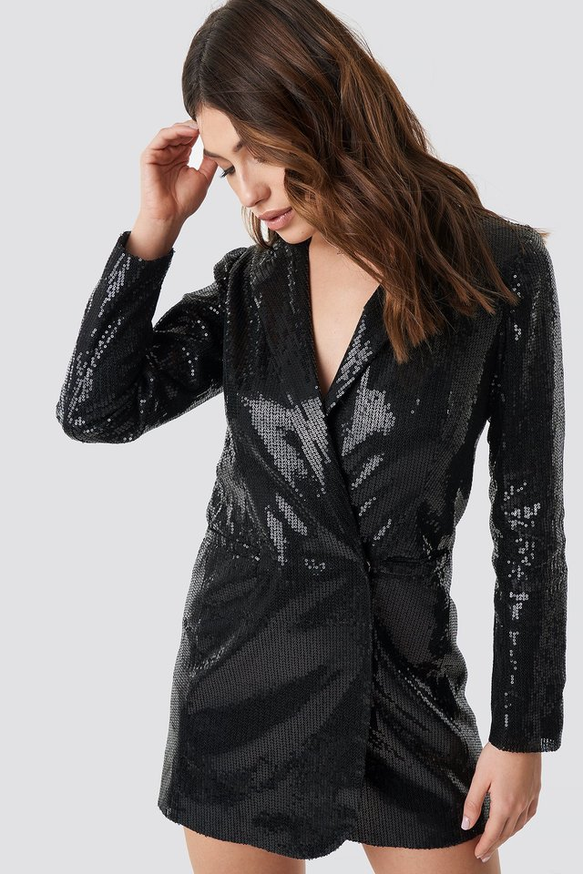 Sequin Dress Jacket Black