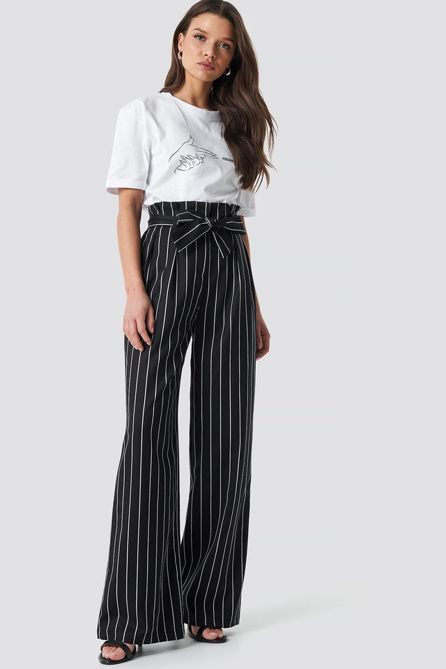 Striped Flare Pants Black