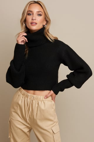 Black High Neck Cropped Sweater