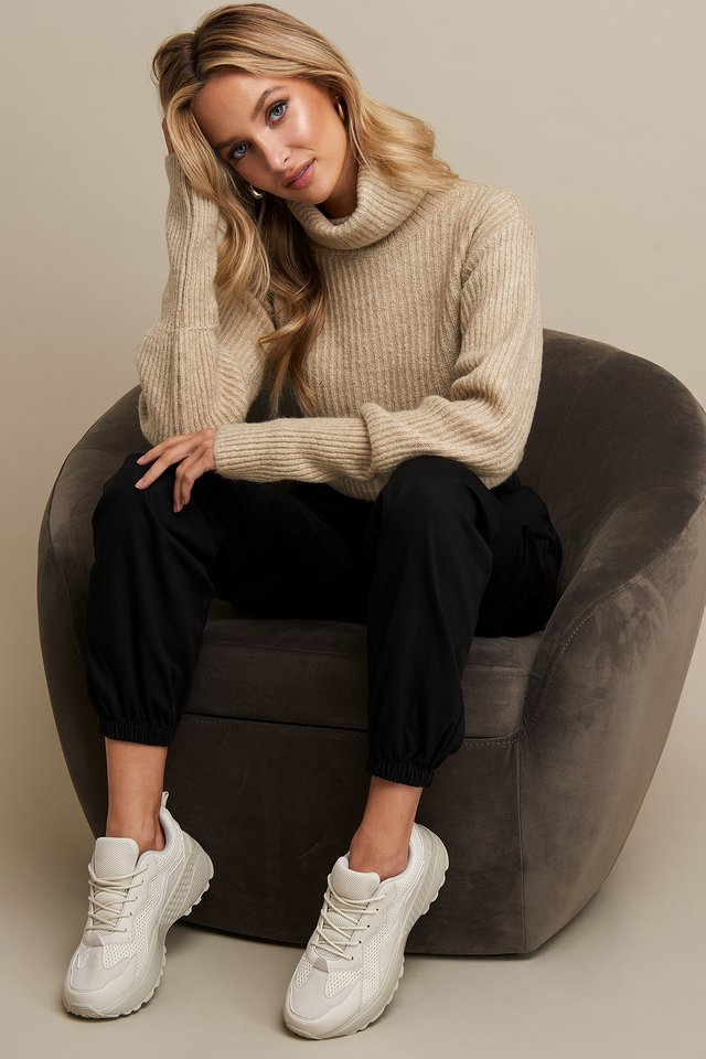 High Neck Cropped Sweater Beige