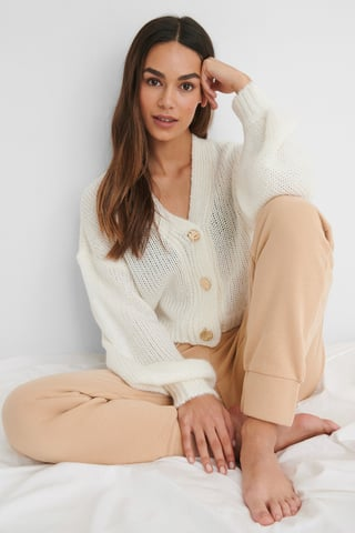 Offwhite Button Detail Knitted Cardigan