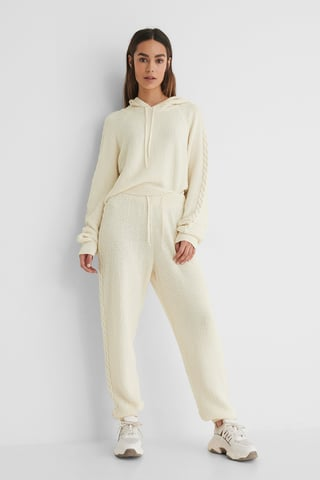 Offwhite Cable Detail Knitted Sweatpants