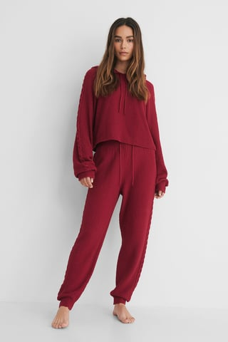 Wine Cable Detail Knitted Sweatpants