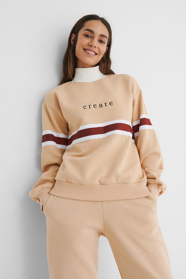 Beige Embroidery Detail Polo Sweater
