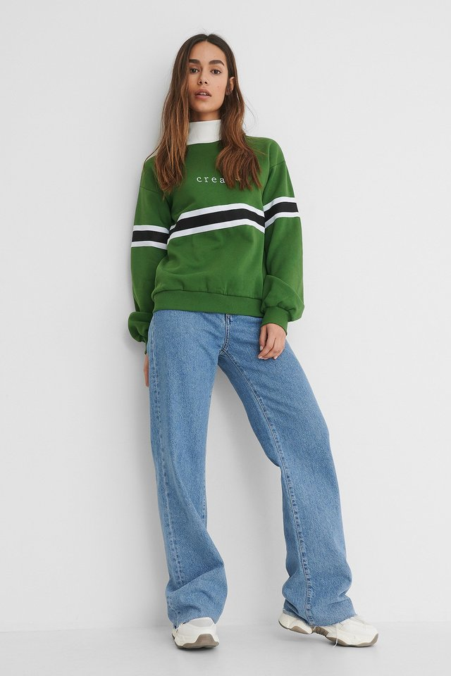 Green Embroidery Detail Polo Sweater