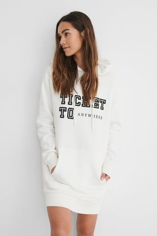 Offwhite Printed Oversized Hoodie Dress