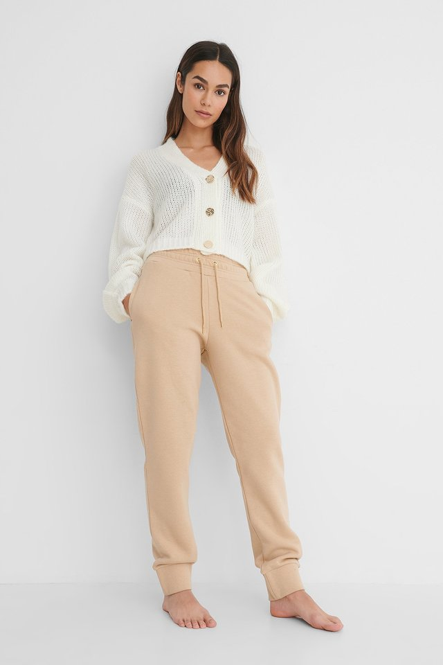 Beige Rushed Detail Jogger Pants