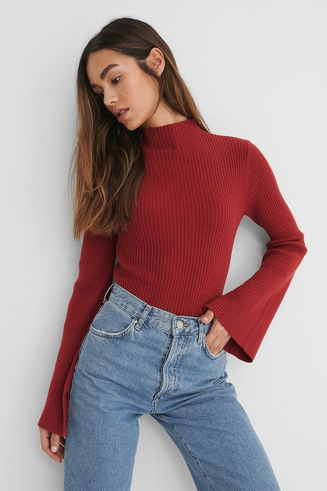 Wine Sleeve Slit High Neck Top